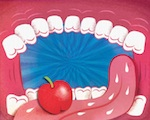 No Ordinary Apple illustration, apple in mouth